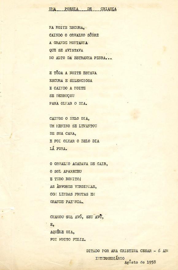 Poema Ana Cristina Cesar